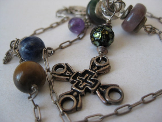 RESERVED for Julia Esther - Sterling Silver Stone Cross Necklace Vintage 925