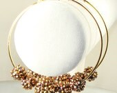 "Gold Rhinestone Basketball Wives Earrings 3"" Gold Hoops (E42317-G2)"