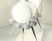 "Silver Rhinestone Basketball Wives Earrings 3"" Silver Hoops with Big Spikes (E42301-S4)"