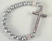 Sideways Rhinestone Pave Cross Bracelet Gunmetal with Crystal and Silver Glass Beads Strecth