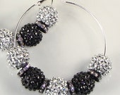 "Silver and Black Two Tone Rhinestone Basketball Wives Earrings 3"" Silver Hoops and Spacers (E42301-42306-S5)"