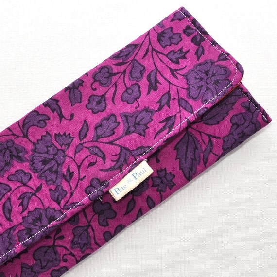 WOMEN WALLET / Purple Indian Floral Print, Purple Ikat, Indian