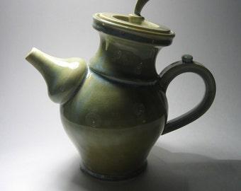Tilted Lichen-Green teapot