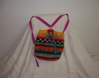 Wool knitted then felted backpack
