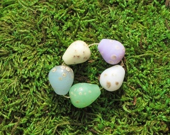 5 Pastel Birds Eggs Beads Handmade Lampwork Glass