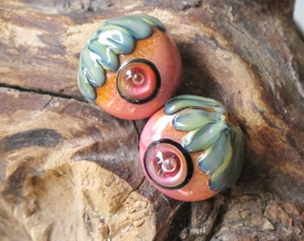 Googly Bubble Eyes Pink & Orange Alien Pod Matched Pair Lampwork Glass Beads