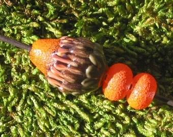 Orange Petal Bud Alien Seed Pod Bead