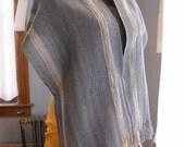 Handwoven Blue Wool Scarf