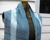 Handwoven Teal & Blue Rayon Springtime Scarf