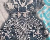 Hemp Mens Tshirt - Psychedelic Tribal Hunab ku Mayan and Mushroom God - Shamanic - Sacred Geometry - Hand printed