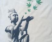 Hemp Mens Tshirt - Buddha Hemp Leaves - Hemp the renewable solution - hand printed