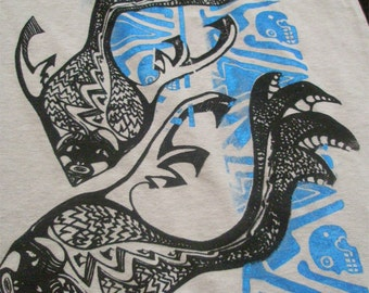 Hemp Mens T-shirt Psychedelic Fish Skull Azteca Tribal