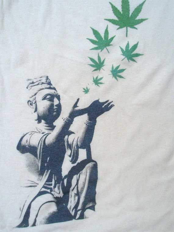 Hemp Mens Tshirt - Buddha Hemp Leaves - Hemp the renewable solution - hand printed