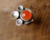 Orange Chalcedony Poppy ring