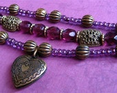 Amethyst heart locket bracelet
