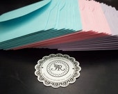 Mini Envelopes, Petal Style Envelopes for 2x2 Mini Note Cards in Pastel Colors ENVELOPES - HOLDERS BABY SaLE Set of 12 Handmade by Annie42
