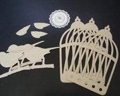 Chipboard Die Cuts - 28 - Chipboard Bird and Chipboard Birdcage Designed by Tim Holtz Set of 6 pieces Chipboard