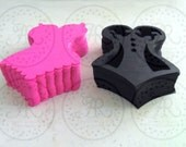Vintage Style Layer Corset HOT PiNK, BLACK and WHiTE w Scallop Bottom Cardstock Die Cuts Set of 9 pcs.