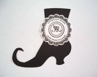 HALLOWEEN SALE - Witches Boots Set of 12 for Scrapbooking, Party Favors, Garlands, Cupcake Toppers, Journaling Spot and More