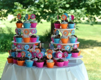 CUPCAKE WRAPPERs Cupcake Holders Scalloped Top Set of 12 CHOOSE Color Hot Pink, Turquoise, Lime Green, Yellow & Orange