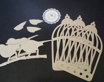Birdcage, Chipboard Die Cuts - 28 - Chipboard Bird and Birdcage Designed by Tim Holtz Set of 6 pieces Chipboard