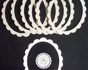 Chipboard Ovals, Scalloped Oval Frames Die Cuts, no.15, Scallop Ovals, Scallop Frames, Chipboard Oval Frames, Scallop Die Cuts Set of 4