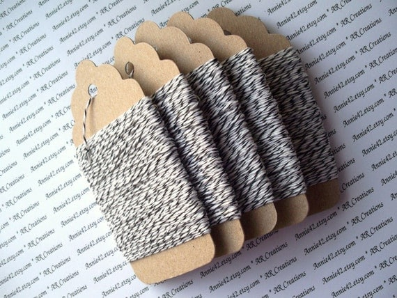 25 YARDS Bakers Twine  in BLACK and WHITE for Scrapbooking, Card Making, Party Favors and More