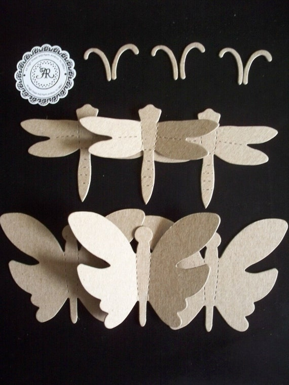 10 - Chipboard Butterflies and Dragonflies Chipboard Die Cuts Shapes Set 4 by Annie42 - AR Creations on Etsy
