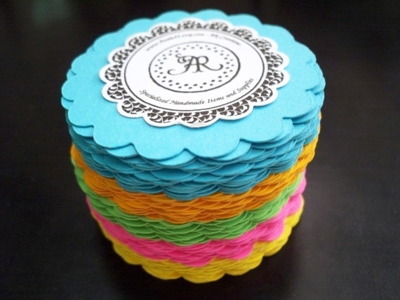 Scallop Circles Die Cuts Set of 25 in BRIGHT Colors for Scrapbooking, Party Favors, Garlands, Cupcake Toppers and More