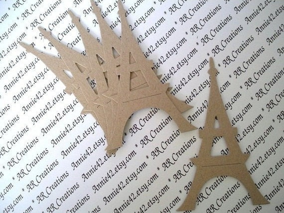 26 - Eiffel Tower for Sale - Ooh La La Paris Chipboard Die Cuts - Kraft Natural Set of 3 by Annie42 on Etsy (y3etc1)