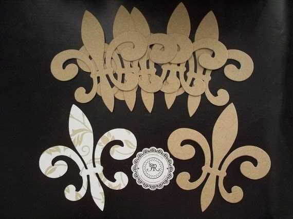 Chipboard Fleur de Lis no. 6 Chipboard Die Cut Set of 3 Bulk Sale Available by Annie42 - AR Creations on Etsy