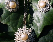Vintage - Rhinestone, Faux Pearl and Enamel - Pendant Necklace and Earrings