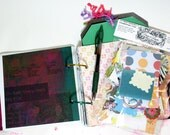 Sophisticated 6x6 Recycled Art Journal Plus Scrap Kit - 140 Pages - 2 5x7 Photo Journal Tags