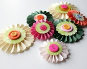 CUSTOM LISTING - 5 Paper Rosettes for Gift Bows, Bags, Boxes, Cards, Decorations, and Scrapbooks