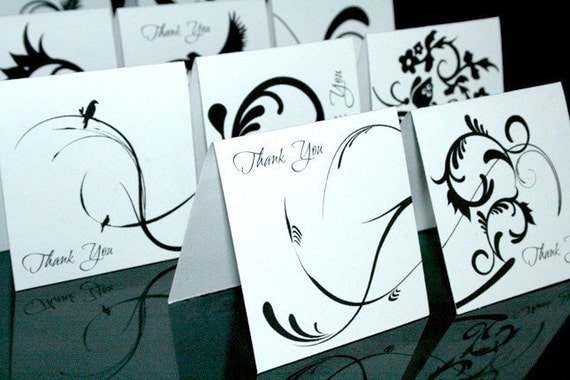 12 Thank You Scroll Mini Cards-Tags in Black and White