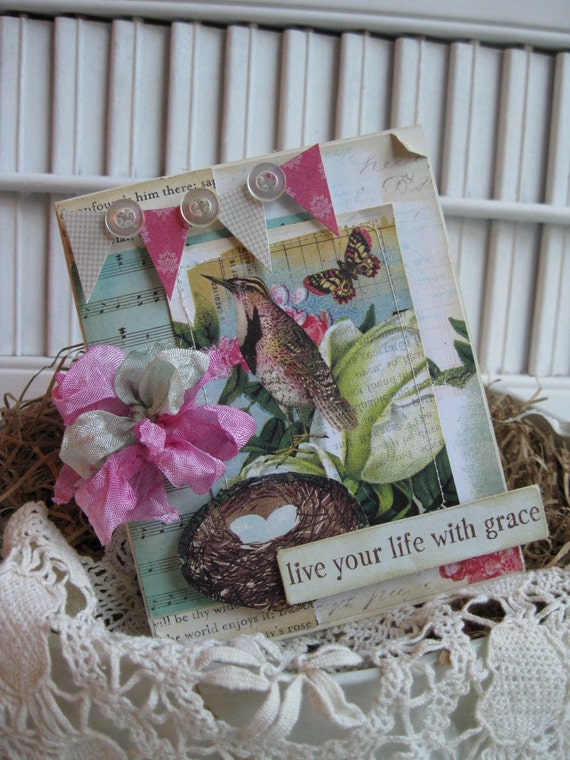 shabby chic bird butterfly nest LIVE YOUR LIFE with grace banner ...