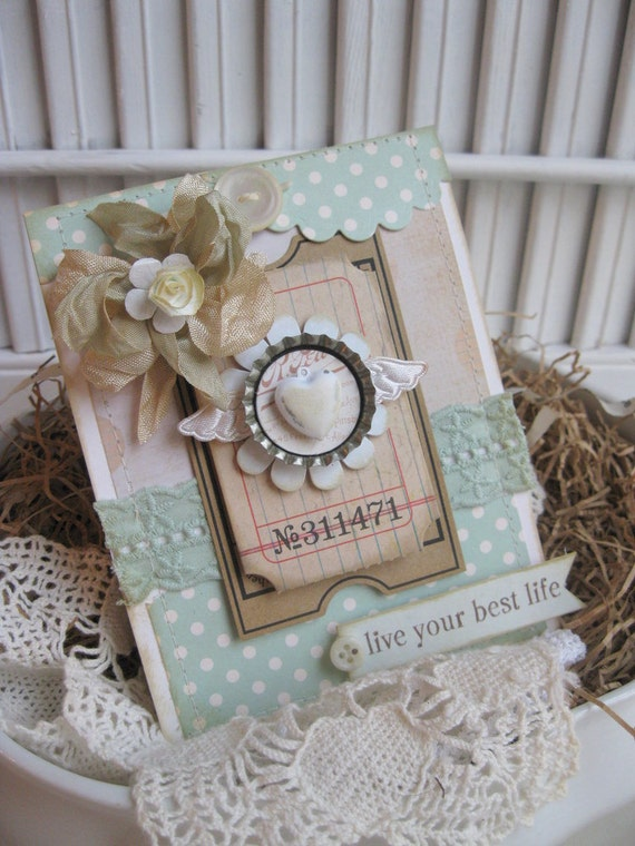 shabby chic vintage bottle cap heart wings LIVE your BEST life ...