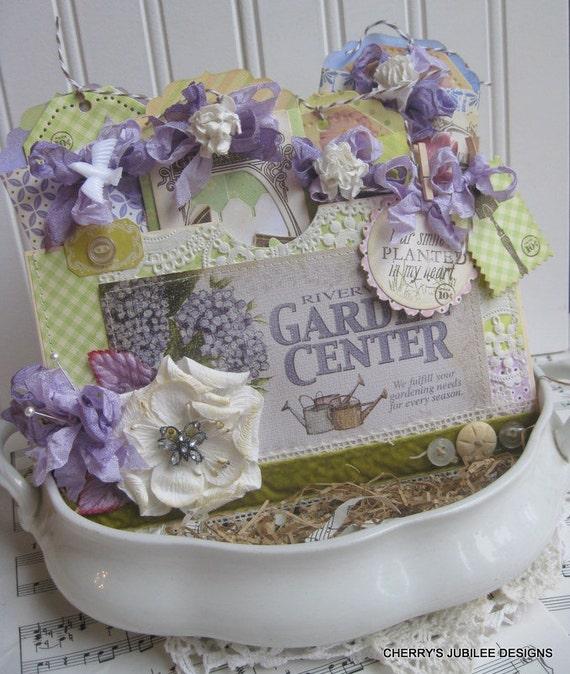 shabby chic cottage garden pocket full of tags handmade treat bag decoration gift