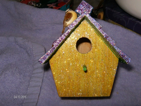 LITTLE COOP A Glittered Birdhouse Bird House Country Crystal Home Decor