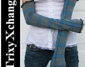 TRIXY XCHANGE - Blue Grey Plaid Arm Warmers Long Fingerless Gloves - May Fit Plus Size - Last Pair