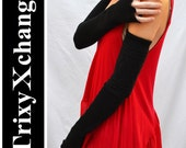 TRIXY XCHANGE - Extra Long Black Arm Warmers Cable Knit Striped Fingerless Gloves Covers Arm Bands Sleeves