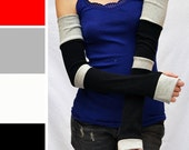 TRIXY XCHANGE -  Long Gloves Arm Warmers Black Gloves - Grey Striped Leg Warmers Socks Yoga Burning Man