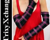 TRIXY XCHANGE - Pink Plaid Purple Black Long Arm Warmers Fingerless Gloves Covers