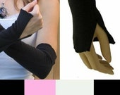 TRIXY XCHANGE - Flared Arm Warmers Cotton Fingerless Gloves Covers Cuffs Black Arm Warmers Grey Arm Warmers Red Arm Warmers White Gloves