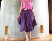 Hanna funky Skirt over pants...Deep purple mix silk ( M-XL)