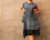Artistic collection...Sunflower layers dress Forest Green/Black (1160)