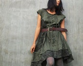 Artistic Collection...Sun and rain pleated dress Green (S-L)