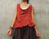 Hailey Blouse...Mix silk earth red (3 sizes M,L,XL)