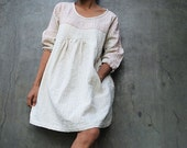 Tone poem...Linen  Ivory dress with hand stitches detail (1402)