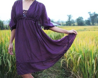 Lola short dress..Deep purple mixed silk ( M-XL)(1423)